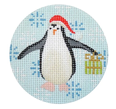 Penguin Christmas Round Lime Canvas - needlepoint