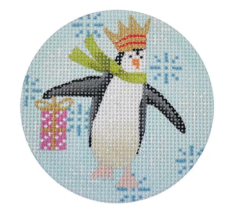 Penguin Christmas Round Pink Canvas - needlepoint