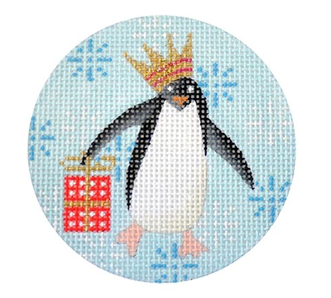 Penguin Christmas Round Red Canvas - needlepoint