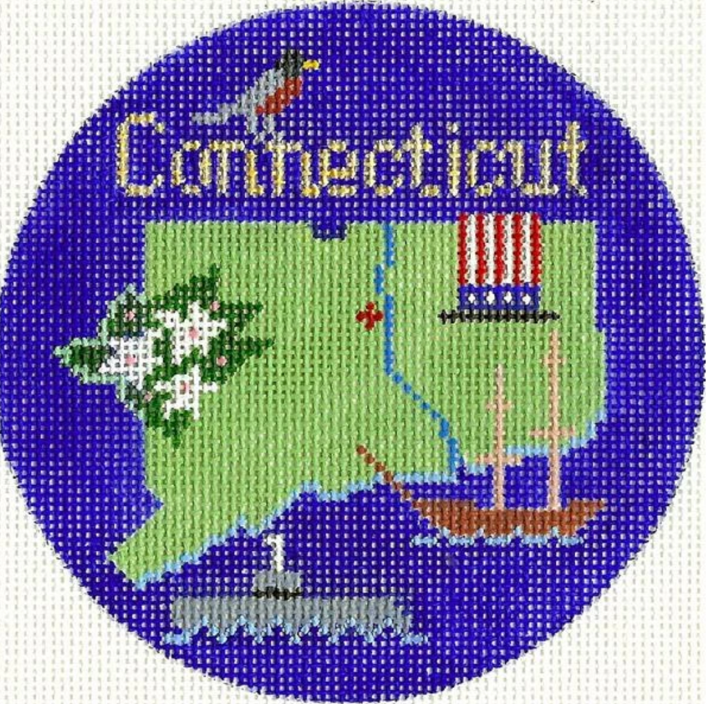 "Connecticut 4 1/4"" Travel Round Needlepoint Canvas"