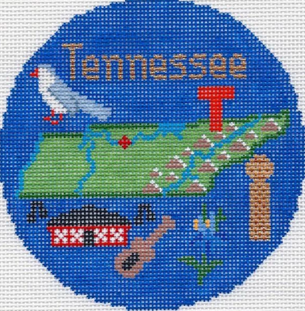 "Tennessee 4 1/4"" Travel Round Needlepoint Canvas-Silver Needle-KC Needlepoint"