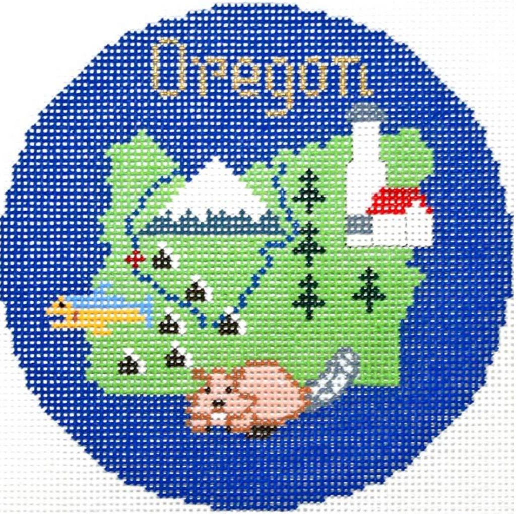 "Oregon 4 1/4"" Travel Round Needlepoint Canvas-Needlepoint Canvas-Silver Needle-KC Needlepoint"