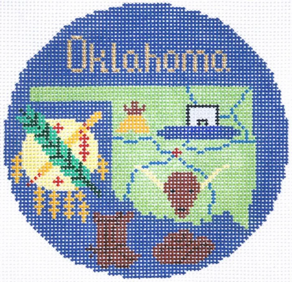 "Oklahoma 4 1/4"" Travel Round Needlepoint Canvas-Needlepoint Canvas-Silver Needle-KC Needlepoint"