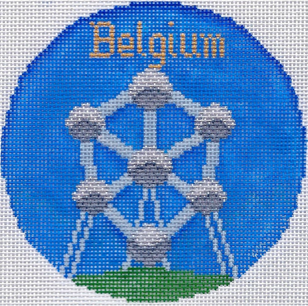 "Belgium 4 1/4"" Travel Round Needlepoint Canvas-Needlepoint Canvas-Silver Needle-KC Needlepoint"