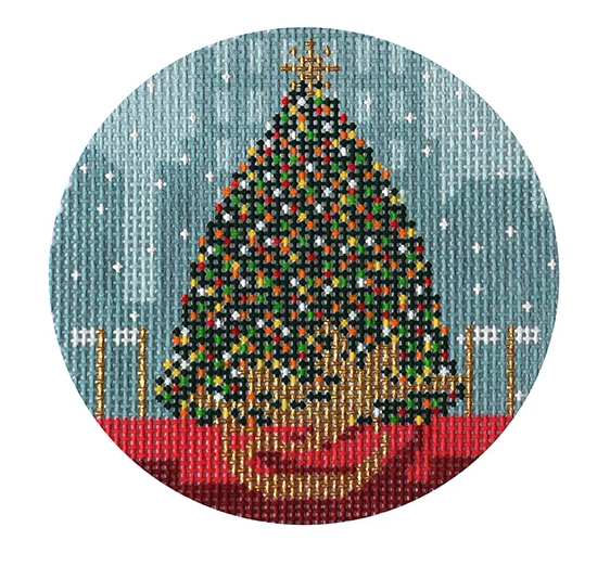 Christmas in NY-Rockefeller Center Canvas-Needlepoint Canvas-Kirk & Bradley-KC Needlepoint