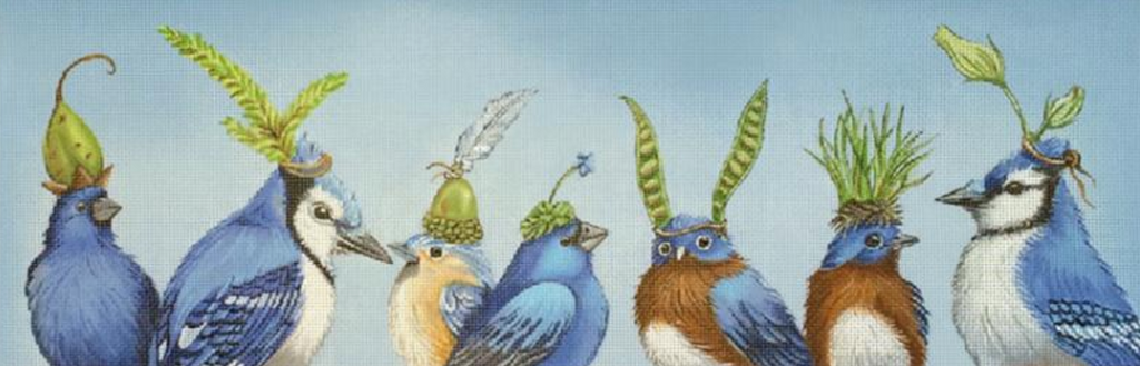 Birds of Blue Needlepoint Canvas-Needlepoint Canvas-Melissa Shirley-KC Needlepoint