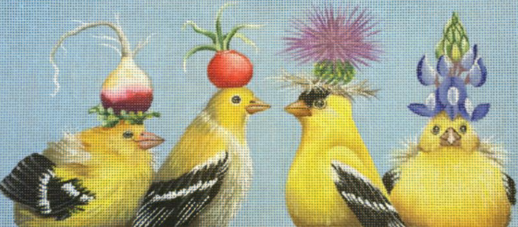 Yellow Birds Needlepoint Canvas - KC Needlepoint