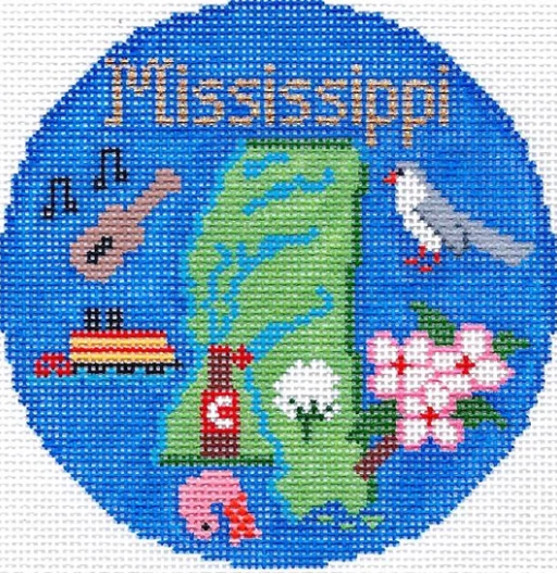 "Mississippi 4"" Travel Round Ornament Canvas-Needlepoint Canvas-Silver Needle-KC Needlepoint"