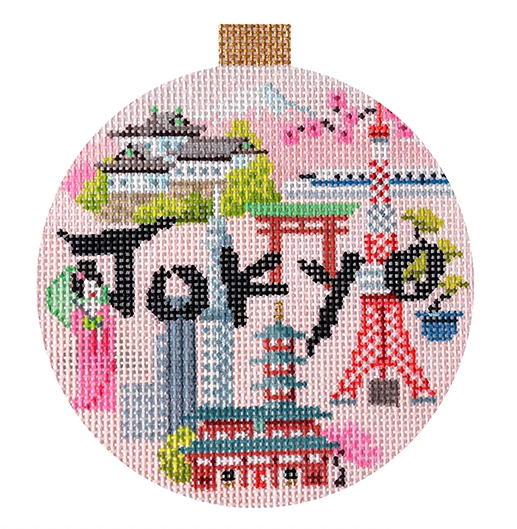 Tokyo Travel Round Needlepoint Canvas-Kirk and Bradley-KC Needlepoint
