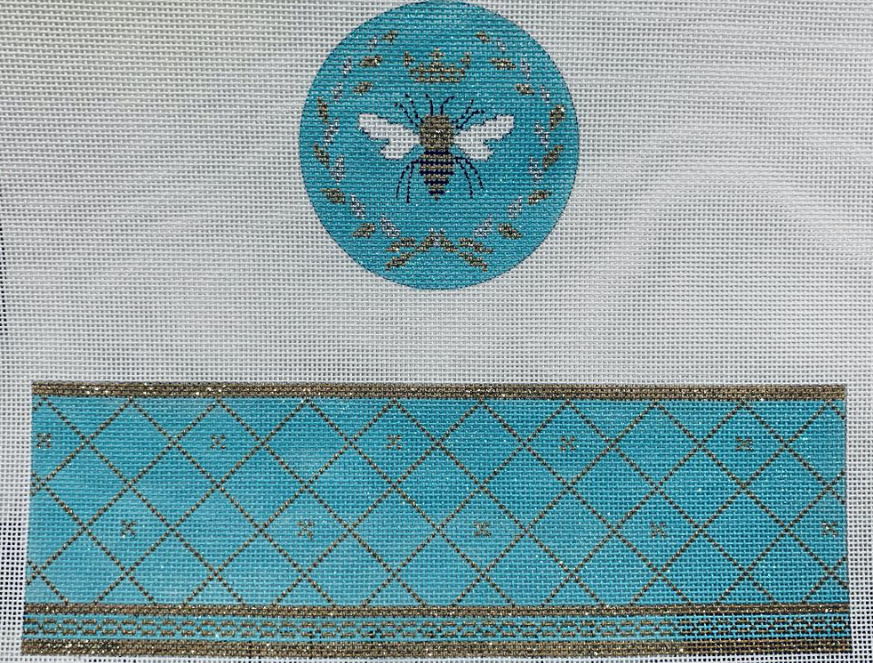 Blue Hinged Box with Bee Canvas - needlepoint