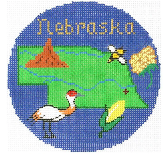 "Nebraska 4"" Travel Round Needlepoint Canvas-Needlepoint Canvas-Silver Needle-KC Needlepoint"