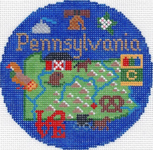 "Pennsylvania 4 1/4"" Travel Round Needlepoint Canvas - needlepoint"
