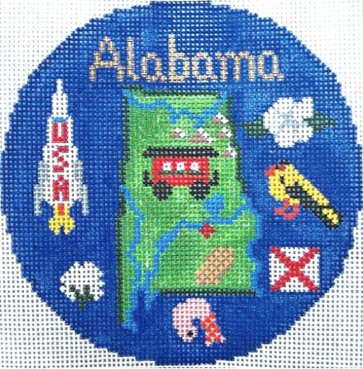 "Alabama 4 1/4"" Travel Round Needlepoint Canvas-Needlepoint Canvas-Silver Needle-KC Needlepoint"