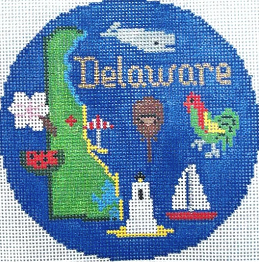 "Delaware 4 1/4"" Travel Round Needlepoint Canvas-Needlepoint Canvas-Silver Needle-KC Needlepoint"