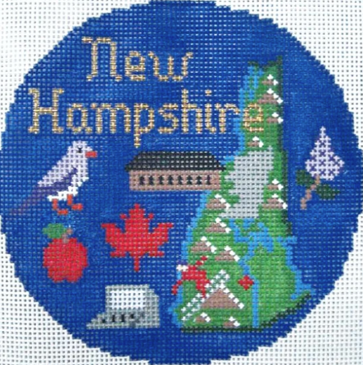 "New Hampshire 4 1/4"" Travel Round Needlepoint Canvas-Needlepoint Canvas-Silver Needle-KC Needlepoint"