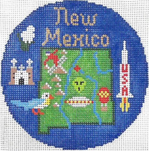 "New Mexico 4 1/4"" Travel Round Needlepoint Canvas-Needlepoint Canvas-Silver Needle-KC Needlepoint"