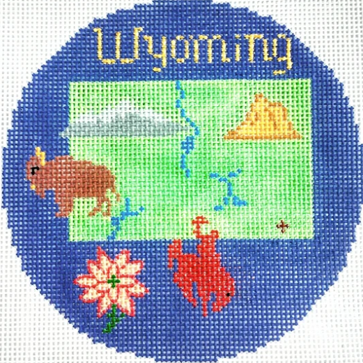 "Wyoming 4 1/4"" Travel Round Needlepoint Canvas - needlepoint"