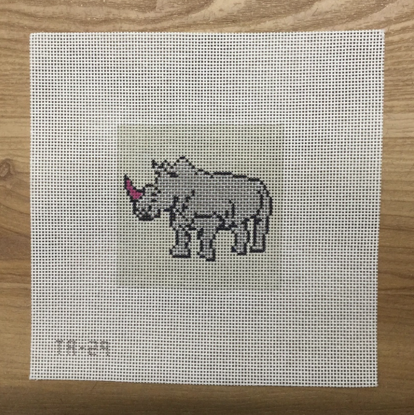 Rosie the Rhinoceros Needlepoint Canvas - needlepoint