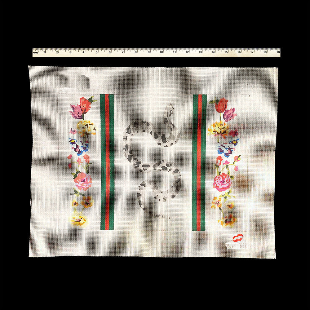 Snake with Stripes and Flowers Canvas - needlepoint