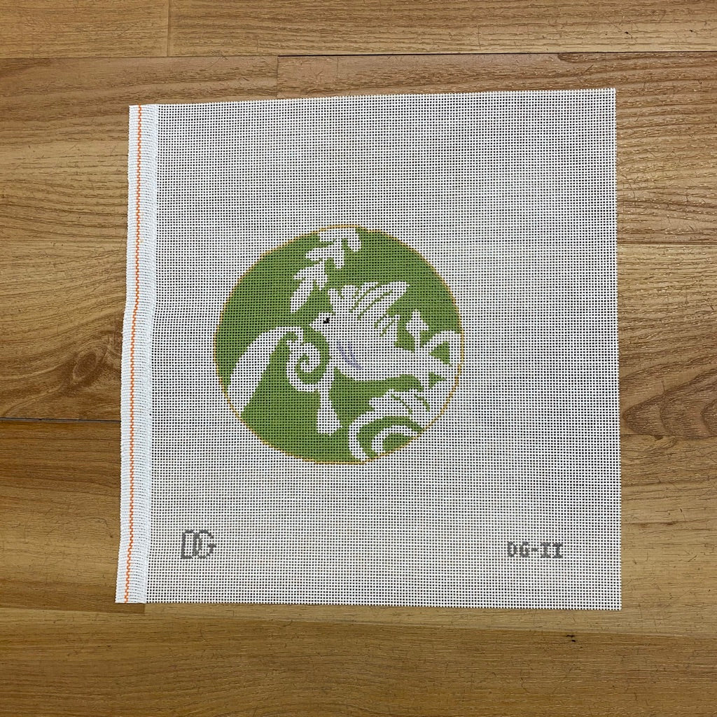 Dove in Green Round Canvas