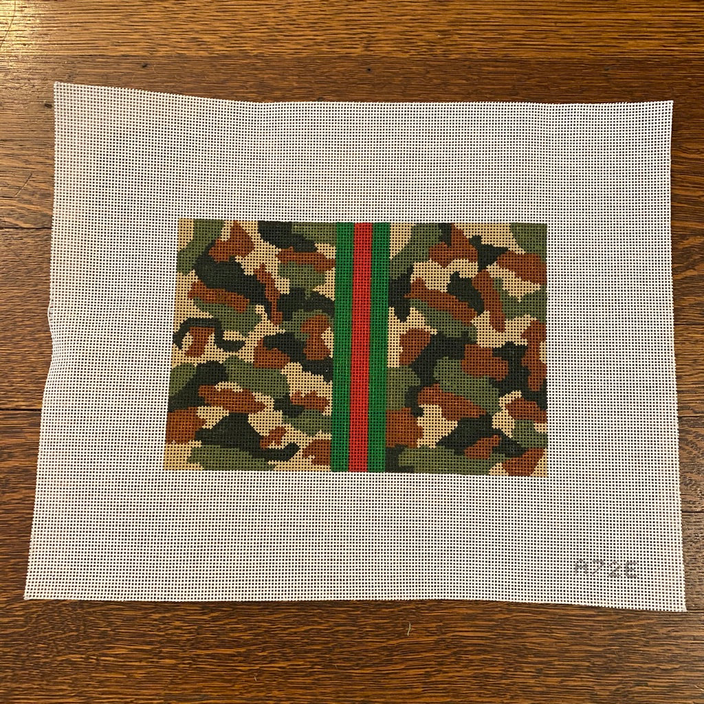 Khaki Camouflage Clutch Canvas - needlepoint