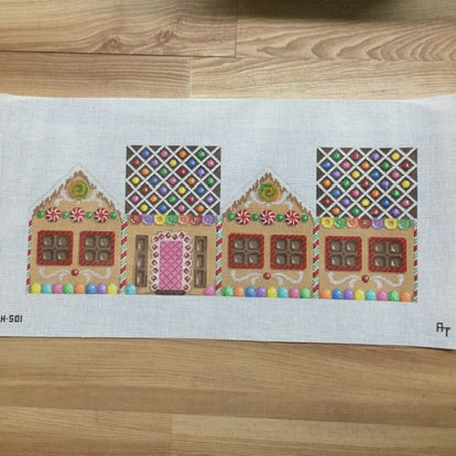 Gingerbread House Round Candy Roof Canvas - needlepoint