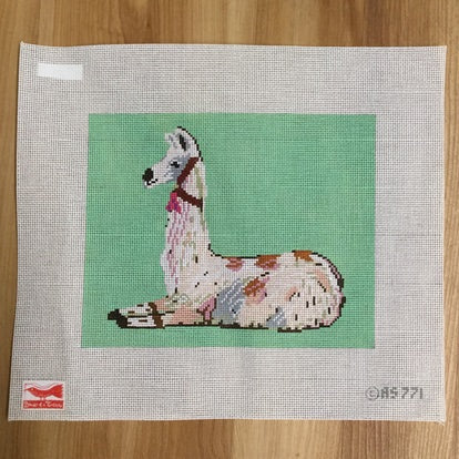 Llama on Green Canvas-Needlepoint Canvas-Birds of a Feather-KC Needlepoint