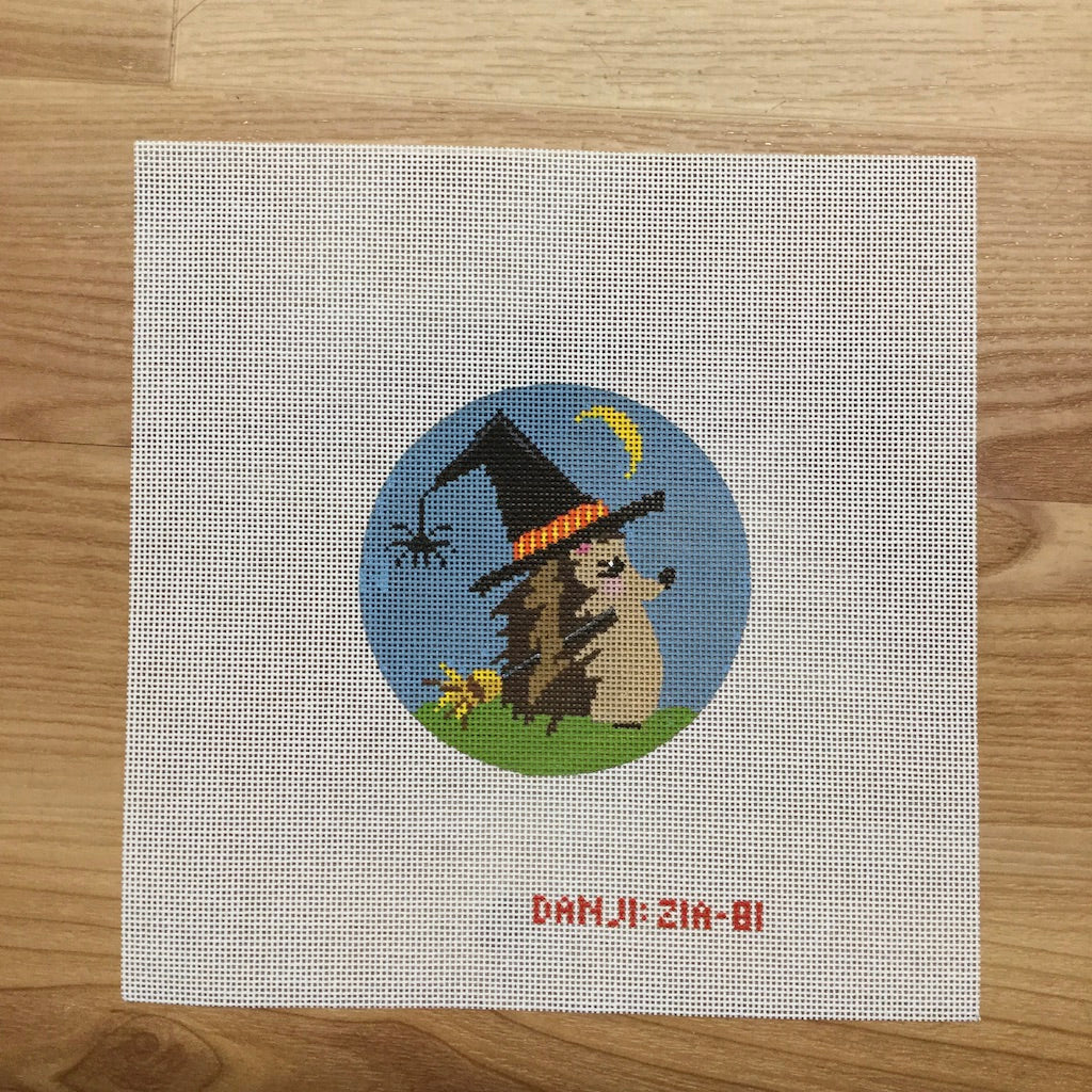 Witch Hedgehog Canvas-Needlepoint Canvas-Danji Designs-KC Needlepoint