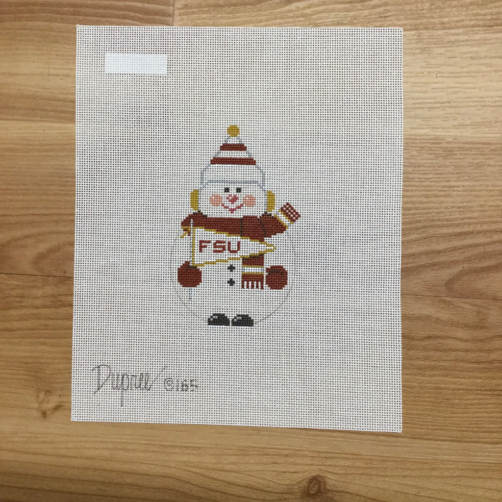 FSU Snowman Canvas-Needlepoint Canvas-Carol Dupree-KC Needlepoint