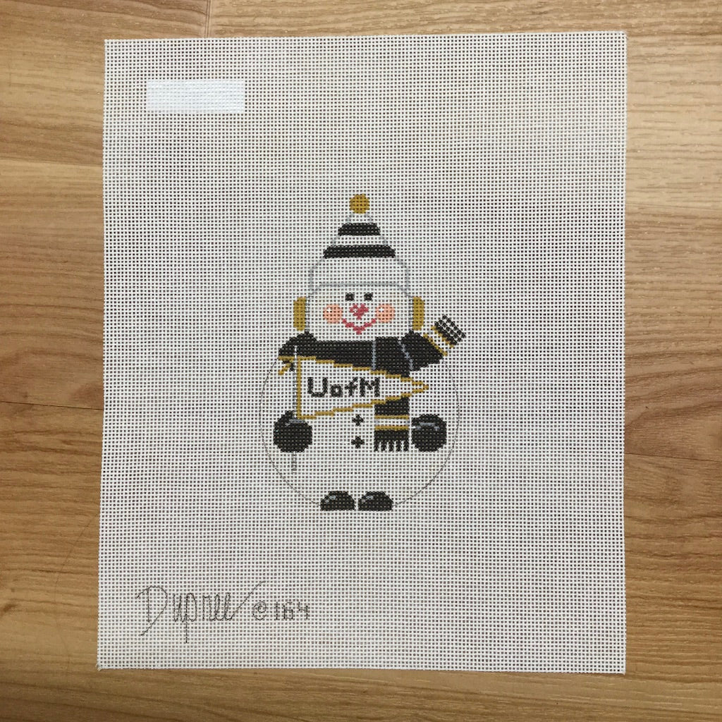 MU Snowman Canvas - needlepoint