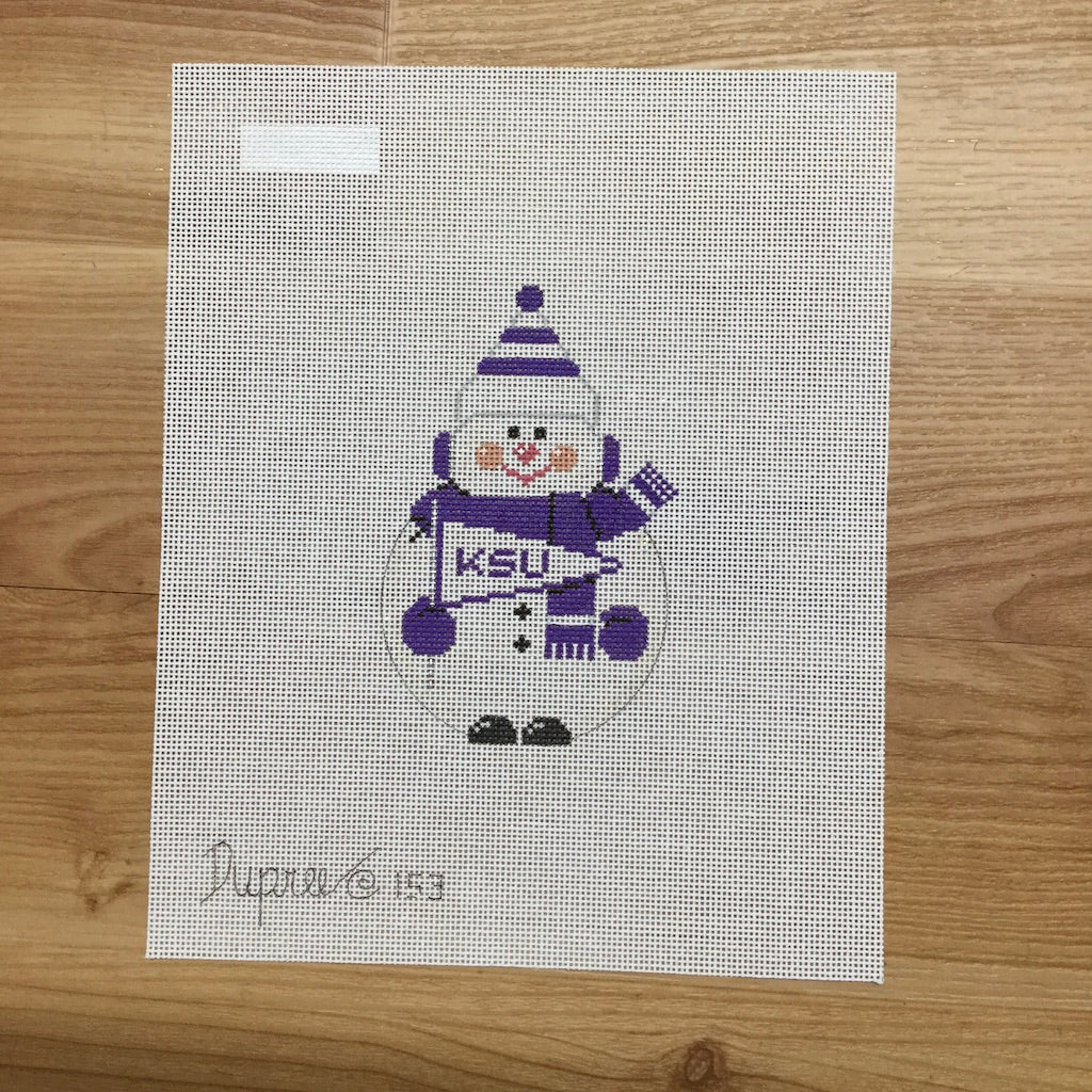 KSU Snowman Canvas-Needlepoint Canvas-Carol Dupree-KC Needlepoint
