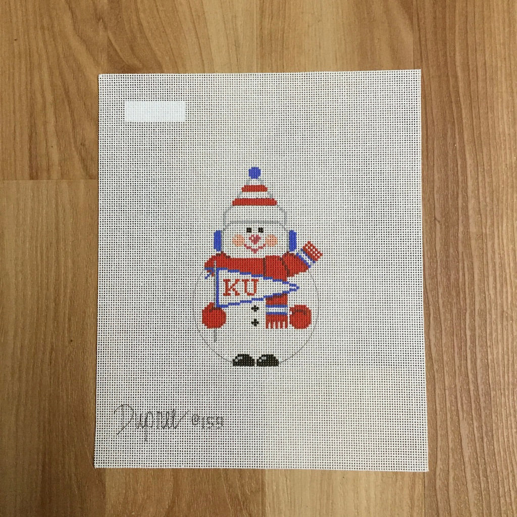 KU Snowman Canvas-Needlepoint Canvas-Carol Dupree-KC Needlepoint