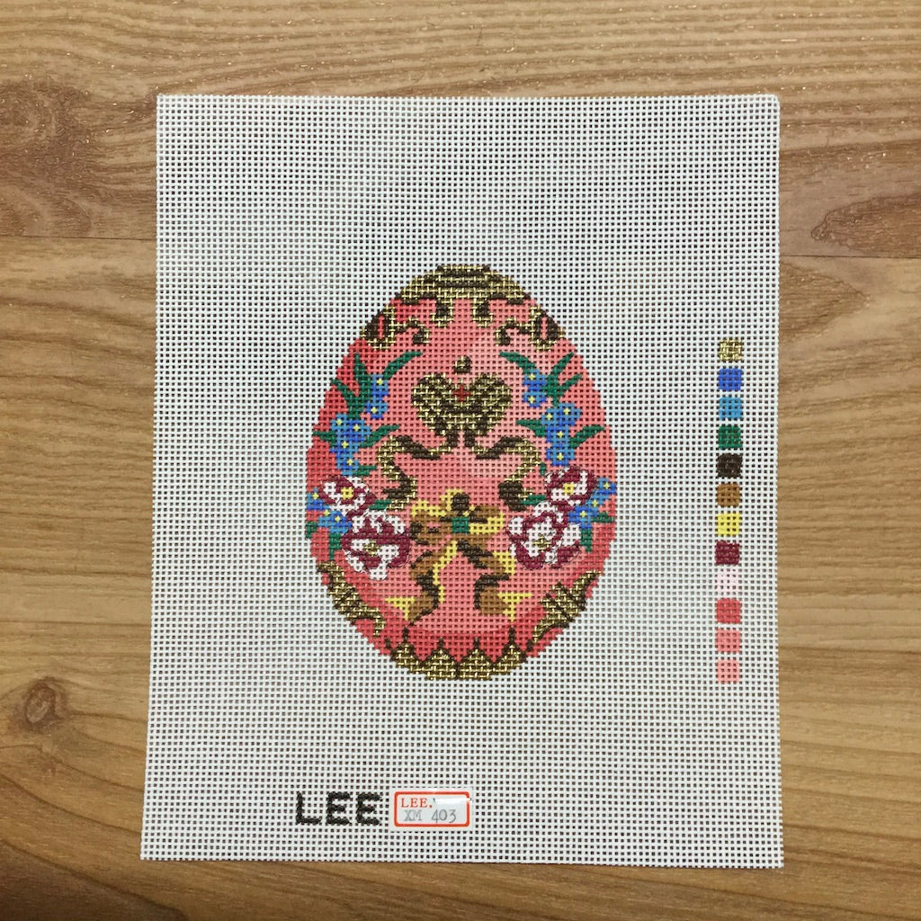 Pink & Gold Faberge Egg Canvas-Lee Needle Arts-KC Needlepoint