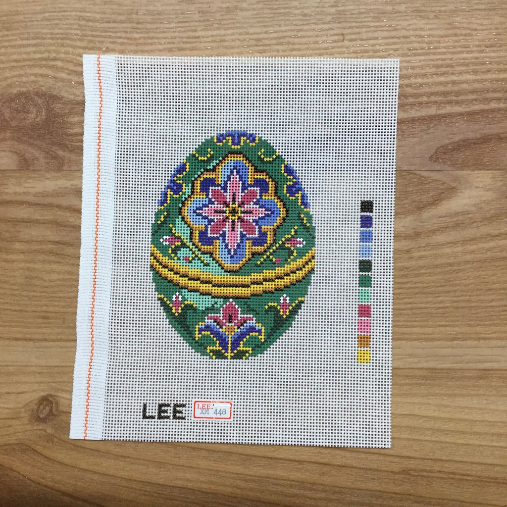 Green Faberge Egg Canvas-Lee Needle Arts-KC Needlepoint