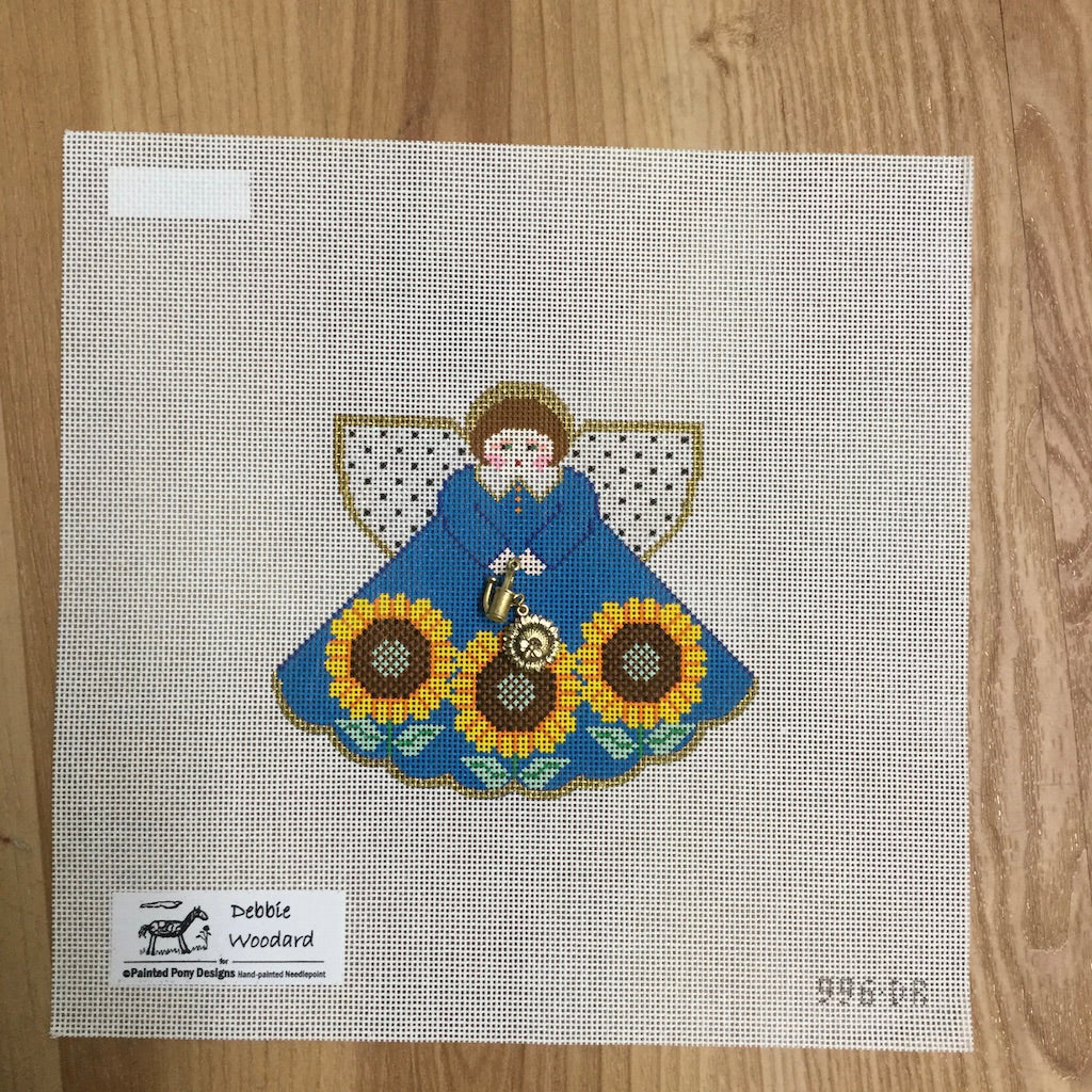Sunflowers Angel Canvas-Needlepoint Canvas-Painted Pony-KC Needlepoint