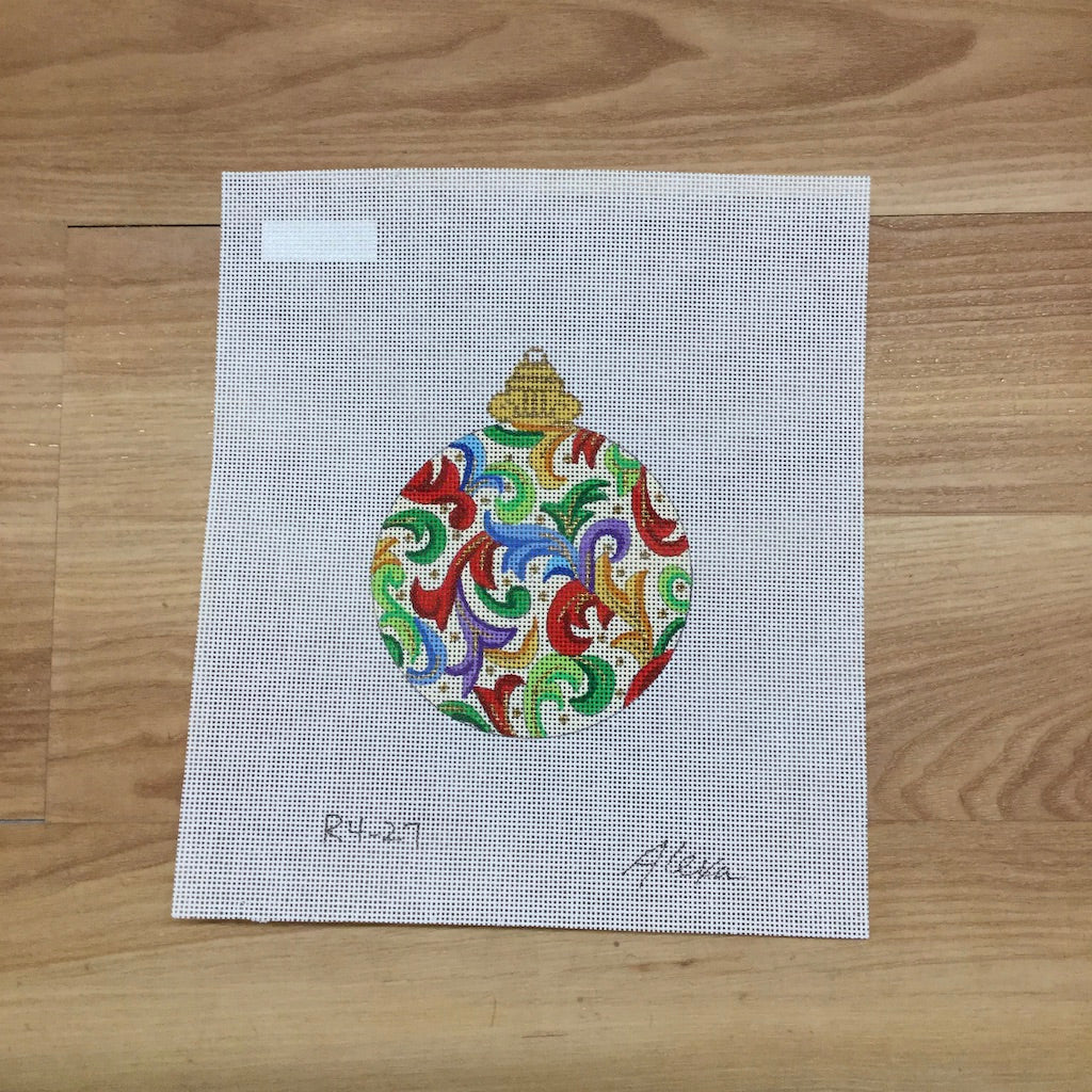 Damask Ornament Canvas-Needlepoint Canvas-Alexa Needlepoint Designs-KC Needlepoint