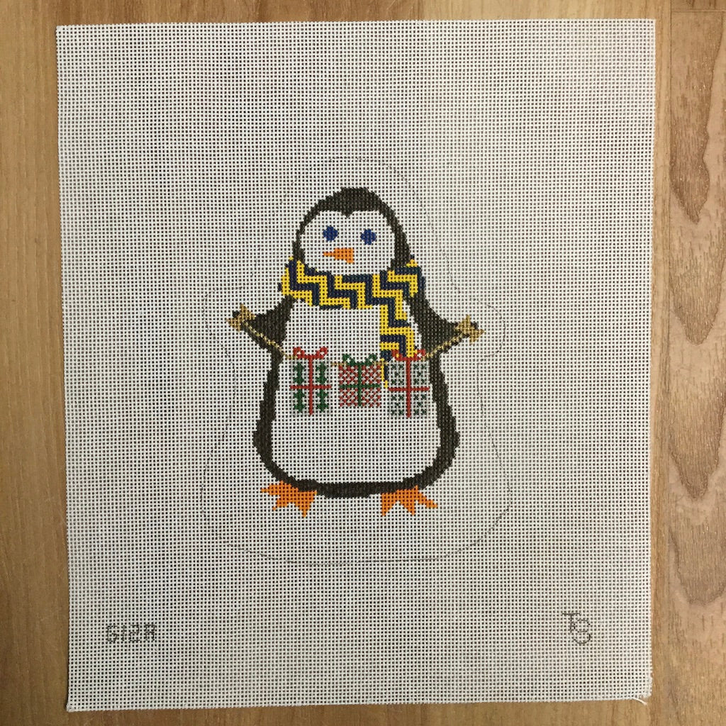 Penguin with Presents Canvas - needlepoint