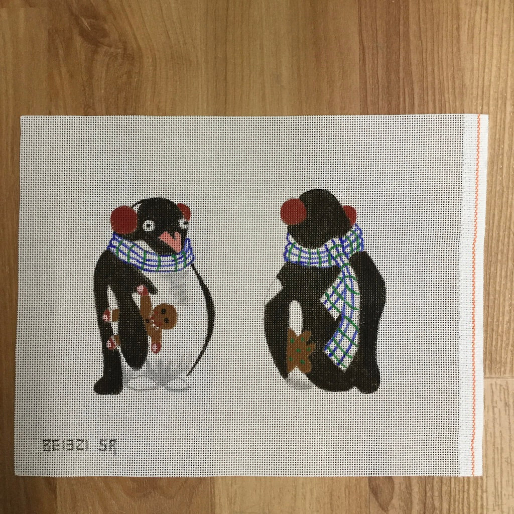 2 Sided Penguin Ornament Canvas-Susan Roberts-KC Needlepoint