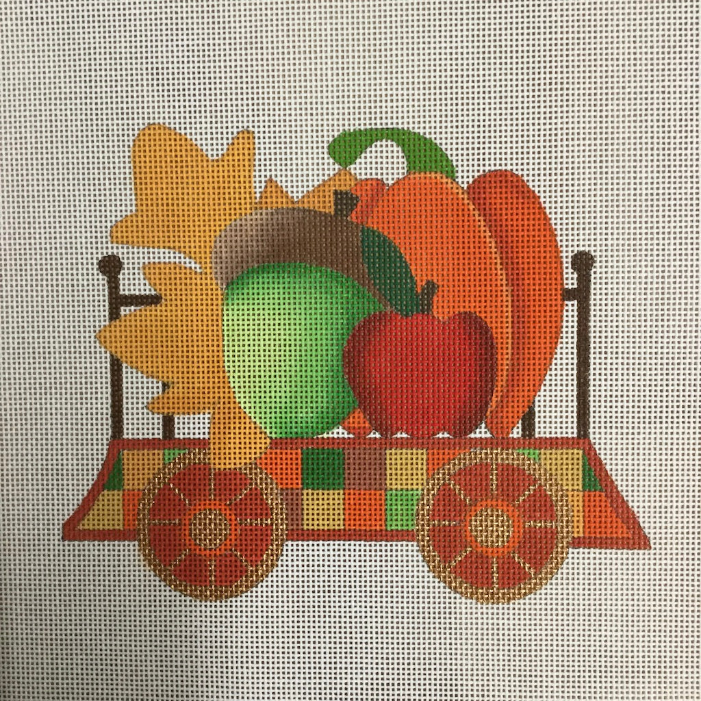 Autumn Train Flat Car Canvas - needlepoint