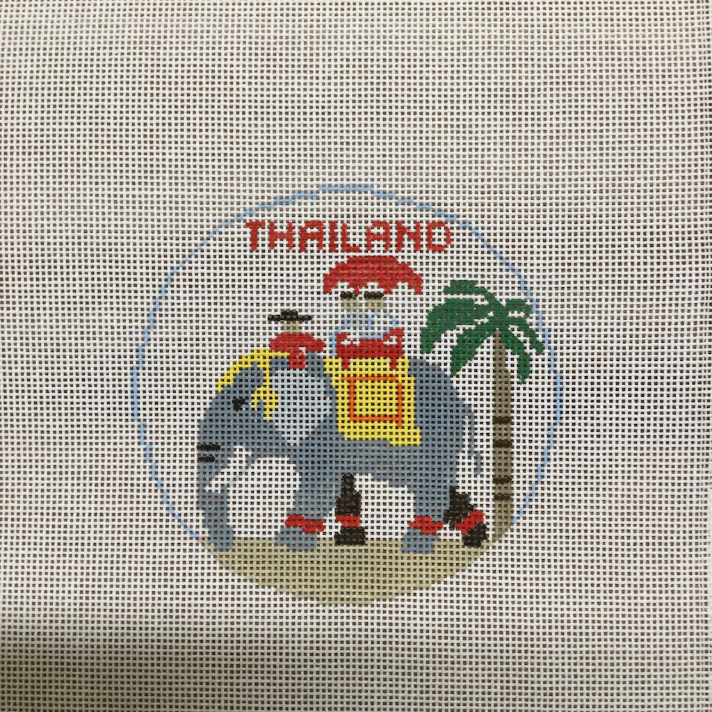 Thailand Travel Round Canvas-Needlepoint Canvas-Kathy Schenkel-KC Needlepoint