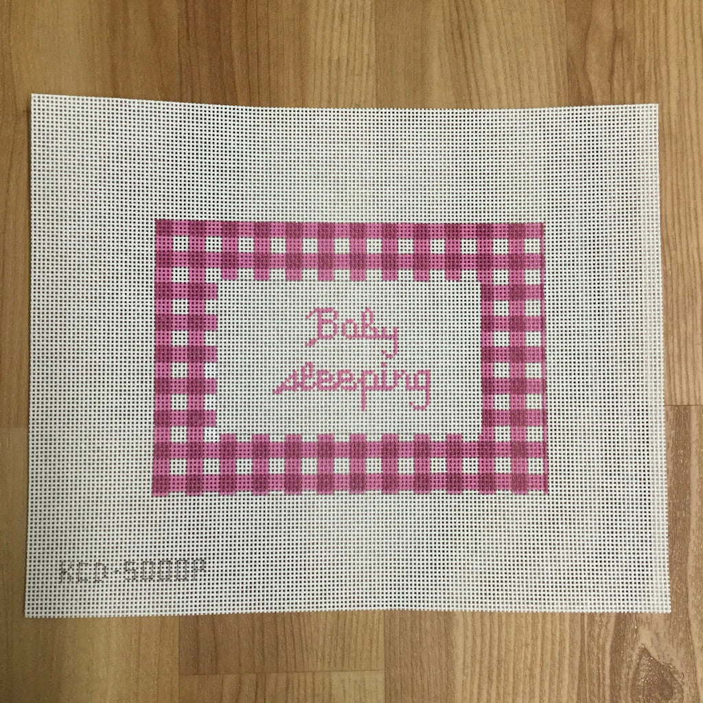 Gingham Baby Sleeping Canvas-Needlepoint Canvas-KCN Designers-Pink-KC Needlepoint