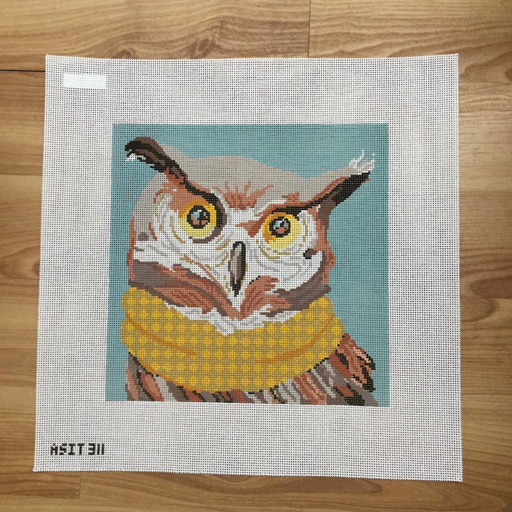 Owl with Scarf Needlepoint Canvas-Needlepoint Canvas-A Stitch in Time-KC Needlepoint