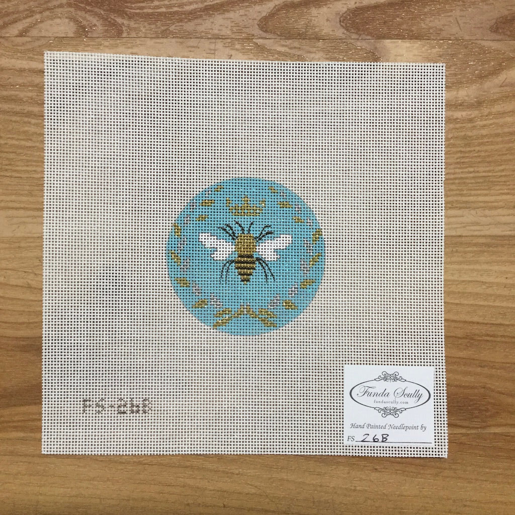 Bee Round Canvas - needlepoint