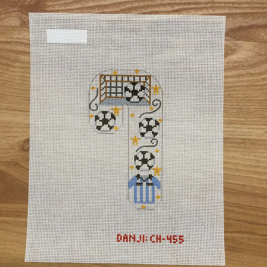 Soccer Candy Cane Canvas - needlepoint