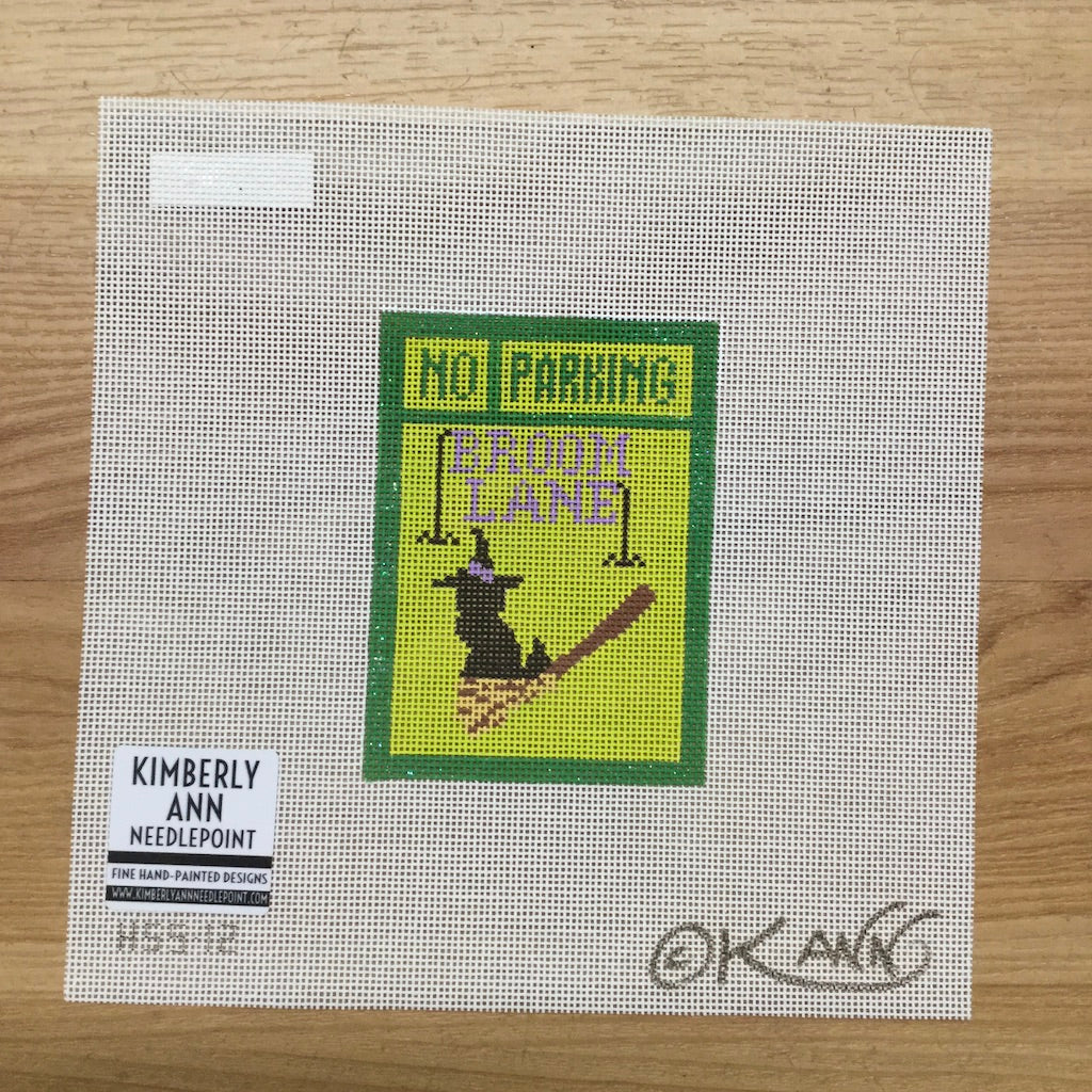 No Parking Broom Lane Canvas - KC Needlepoint