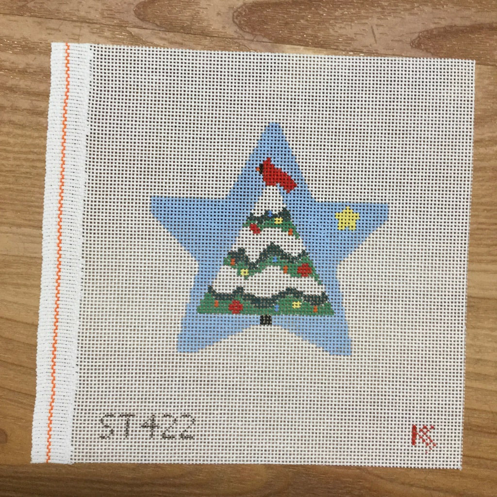 Tree in Blue Star Ornament Canvas-Needlepoint Canvas-Kathy Schenkel-KC Needlepoint