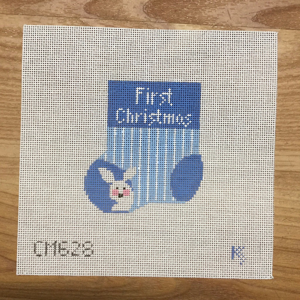 Baby's First Christmas Blue Mini Sock Canvas - KC Needlepoint
