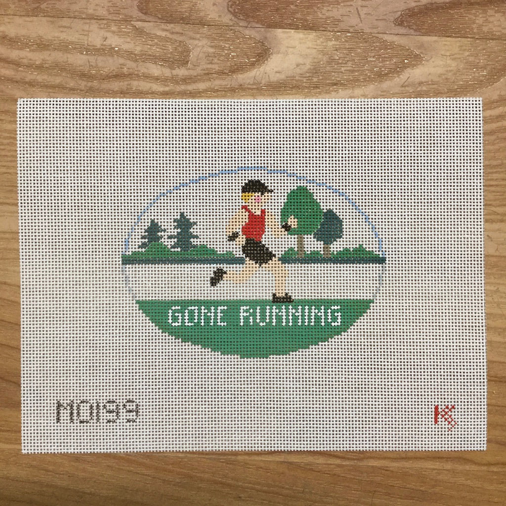 Gone Running Oval Canvas - needlepoint