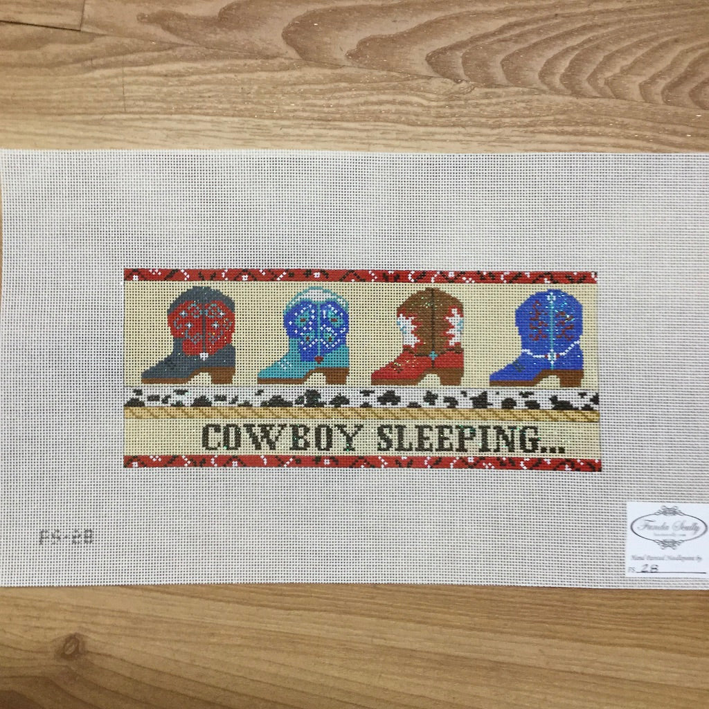 Cowboy Sleeping Canvas - needlepoint