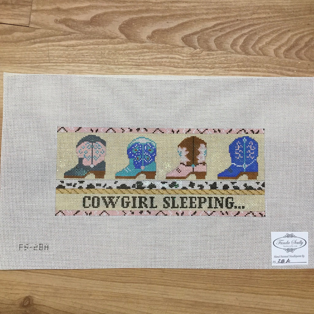 Cowgirl Sleeping Canvas-Funda Scully-KC Needlepoint